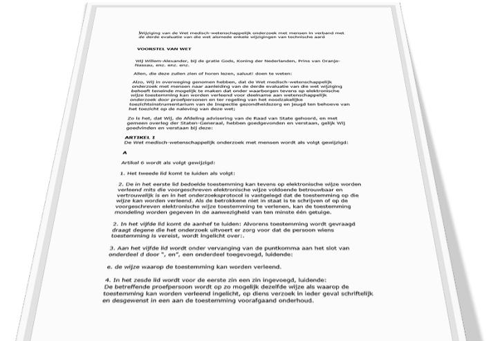 Voorstel wijziging WMO ingediend voor elektronische toestemming door proefpersonen en toezichtsbevoegdheden van IGJ